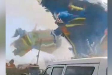 河南一游乐蹦床遇尘卷风袭击被刮飞 造成2名儿童死亡20人受伤